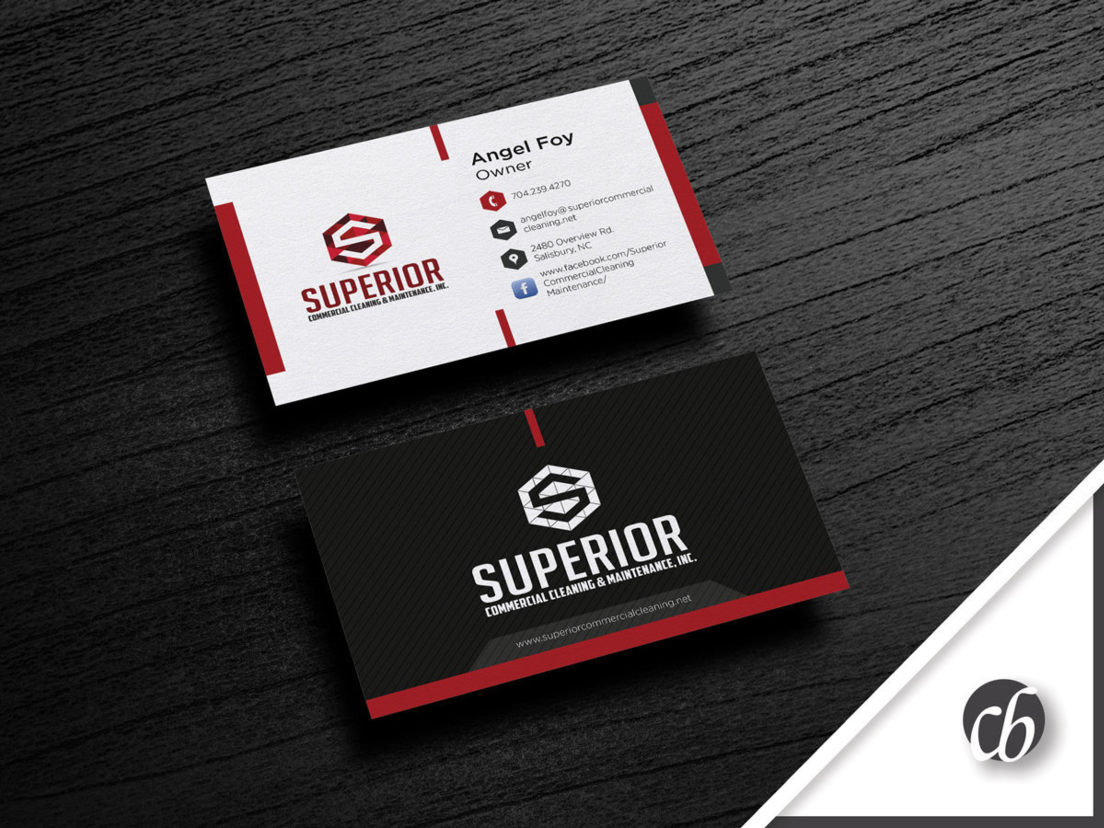Logo business card superior commercial cleaning chris barber business card layout superior colourmoves Gallery